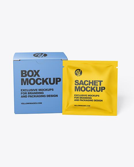 Paper Box with Matte Sachet Mockup