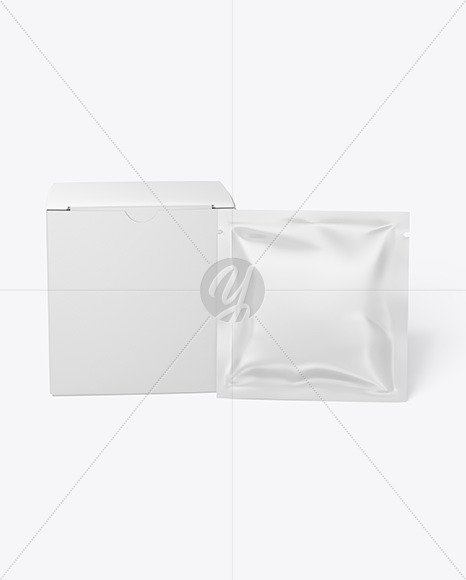 Box with Glossy Sachet Mockup - Front View