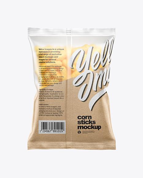Matte Bag With Corn Sticks Mockup