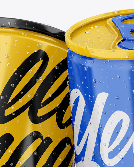Four Glossy Cans Mockup