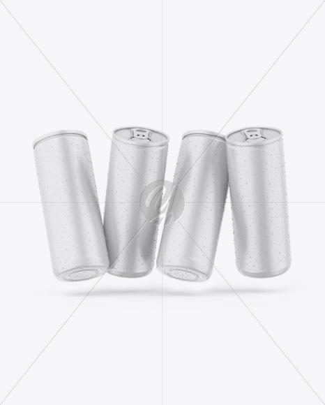 Four Matte Cans Mockup