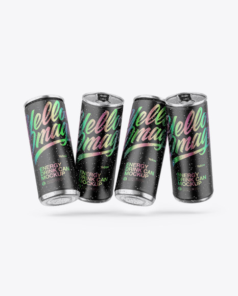 Four Metallic Cans W/ Matte Finish Mockup