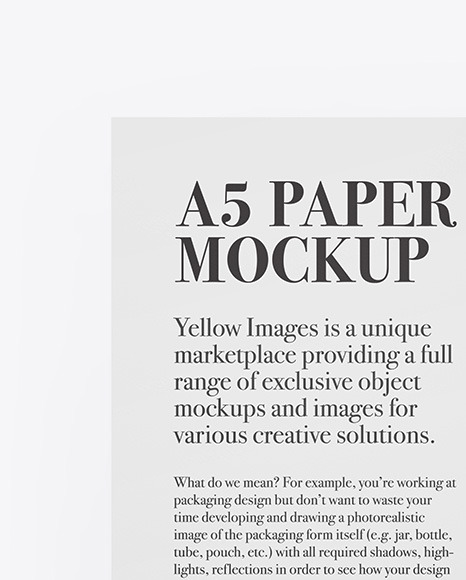 A5 Paper With Pen Mockup