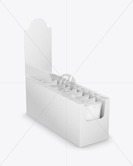 Glossy Display Box with Snacks Mockup