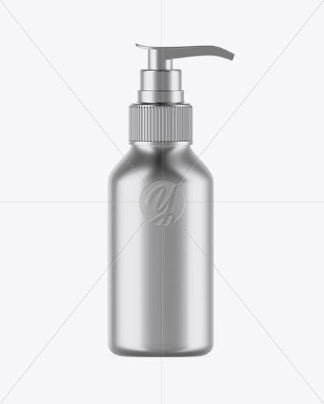 Metallic Cosmetic Bottle with Pump Mockup