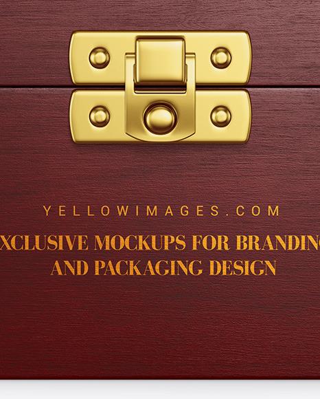 Rough Wooden Box Mockup - Front View (High-Angle Shot)