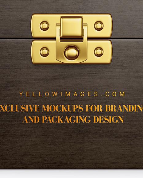 Wooden Box Mockup - Front View (High-Angle Shot)