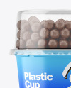 Matte Plastic Cup with Chocolate Balls Mockup