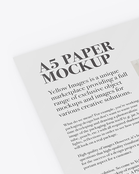 A5 Paper With Pen Mockup - Half Side View
