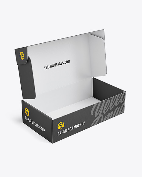 Paper Opened Box Mockup - Half Side View (High-Angle Shot)