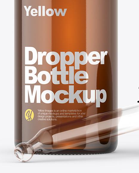 Opened Amber Dropper Bottle Mockup