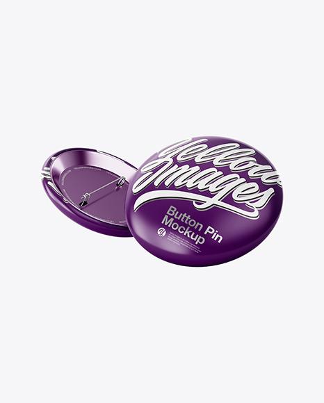 Two Circle Button Pins Mockup