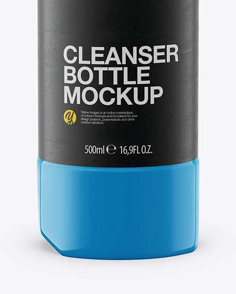 500ml Glossy Plastic Toilet Bowl Cleaner Bottle Mockup - Front View