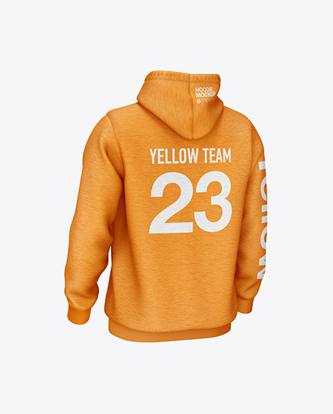 Download Melange Hoodie Mockup Front Half Side View Yellow Images