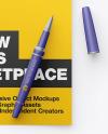 A4 Paper w/ Pen Mockup