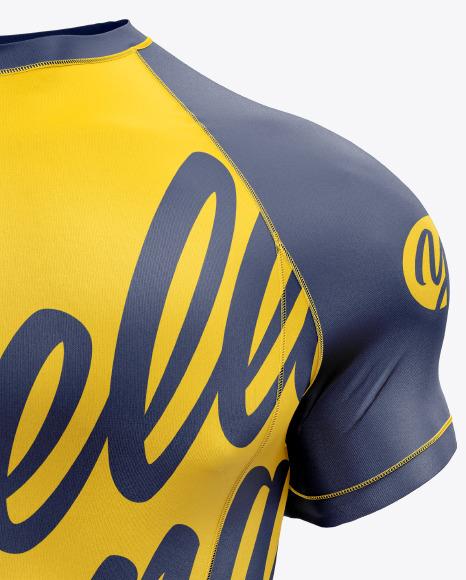 Men's Short Sleeve Jersey on Athletic Body Mockup