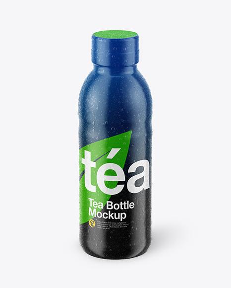 Tea Bottle with Condensation in Shrink Sleeve Mockup