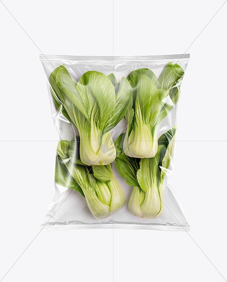 Plastic Bag With Bok Choy Mockup