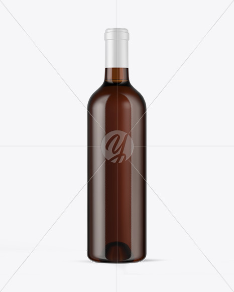 Amber Glass White Wine Bottle Mockup