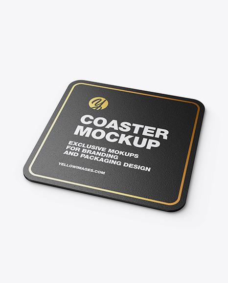 Paper Beverage Coaster Mockup