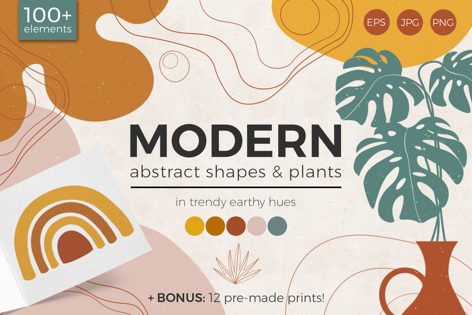 Modern Abstract Shapes And Plants In Illustrations On Yellow Images Creative Store
