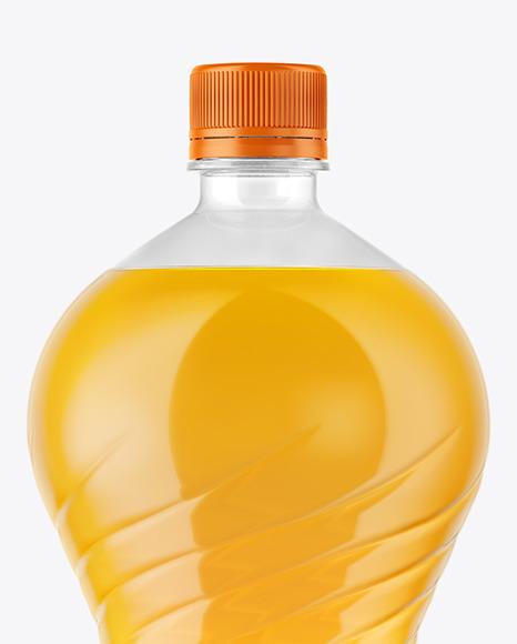 2L PET Bottle With Orange Drink Mockup