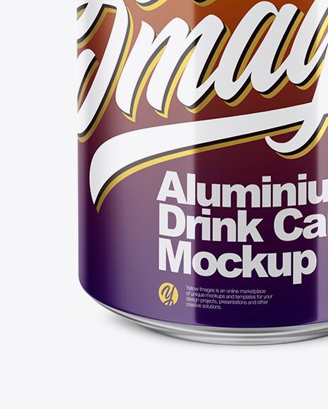 350ml Glossy Aluminium Can Mockup