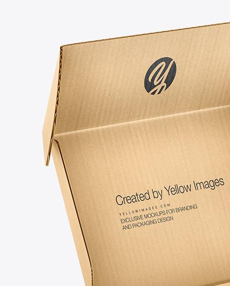 Download Kraft Box Mockup In Box Mockups On Yellow Images Object Mockups PSD Mockup Templates