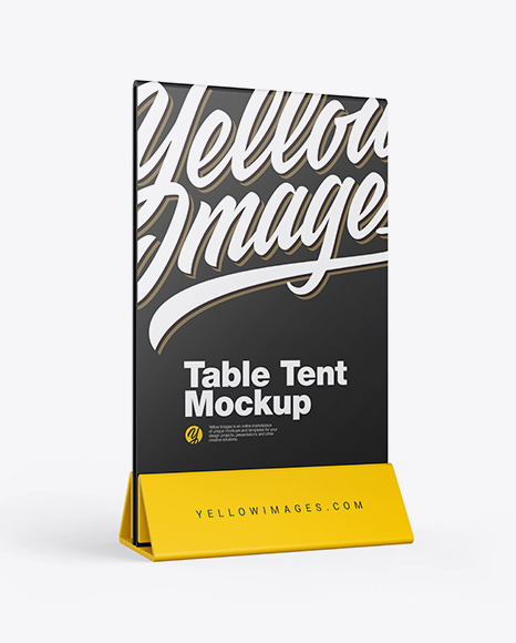 Plastic Table Tent Mockup In Stationery Mockups On Yellow Images