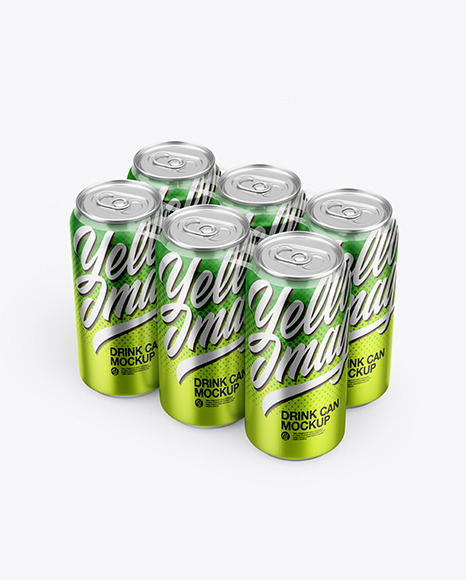 6 Metallic Cans Pack Mockup