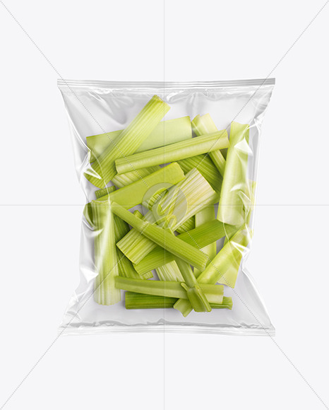 Plastic Bag With Celery Mockup