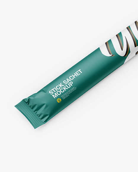 Matte Stick Sachet Mockup - Half Side View