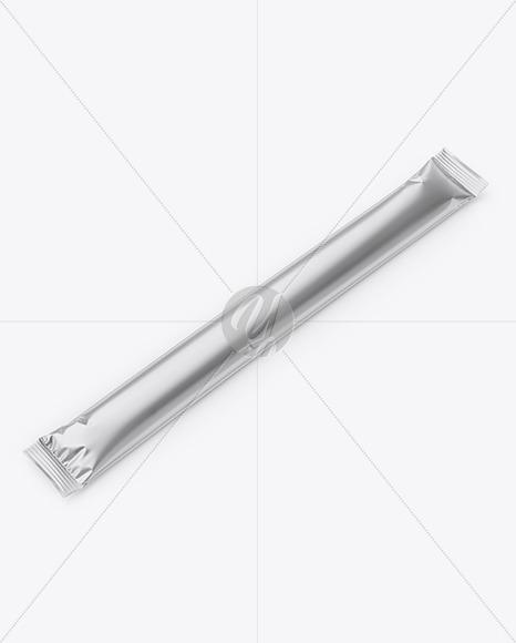 Metallic Stick Sachet Mockup - Half Side View