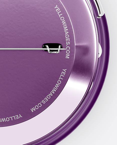 Circle Button Pin Mockup - Front & Back Views
