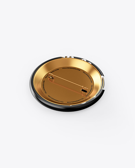 Circle Button Pin Mockup - Front & Back Views