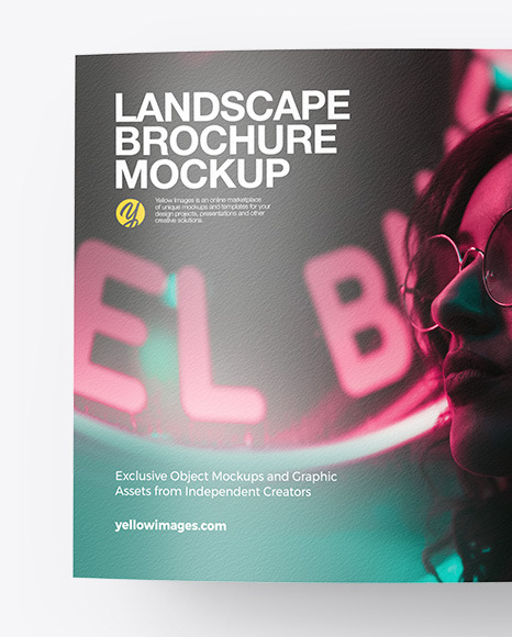 Download Landscape Booklet With Pen Mockup In Stationery Mockups On Yellow Images Object Mockups Yellowimages Mockups
