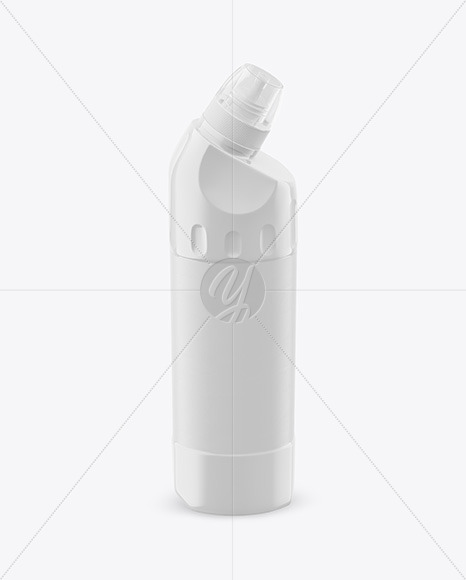 500ml Glossy Plastic Toilet Bowl Cleaner Bottle Mockup - Front View  (High Angle Shot)