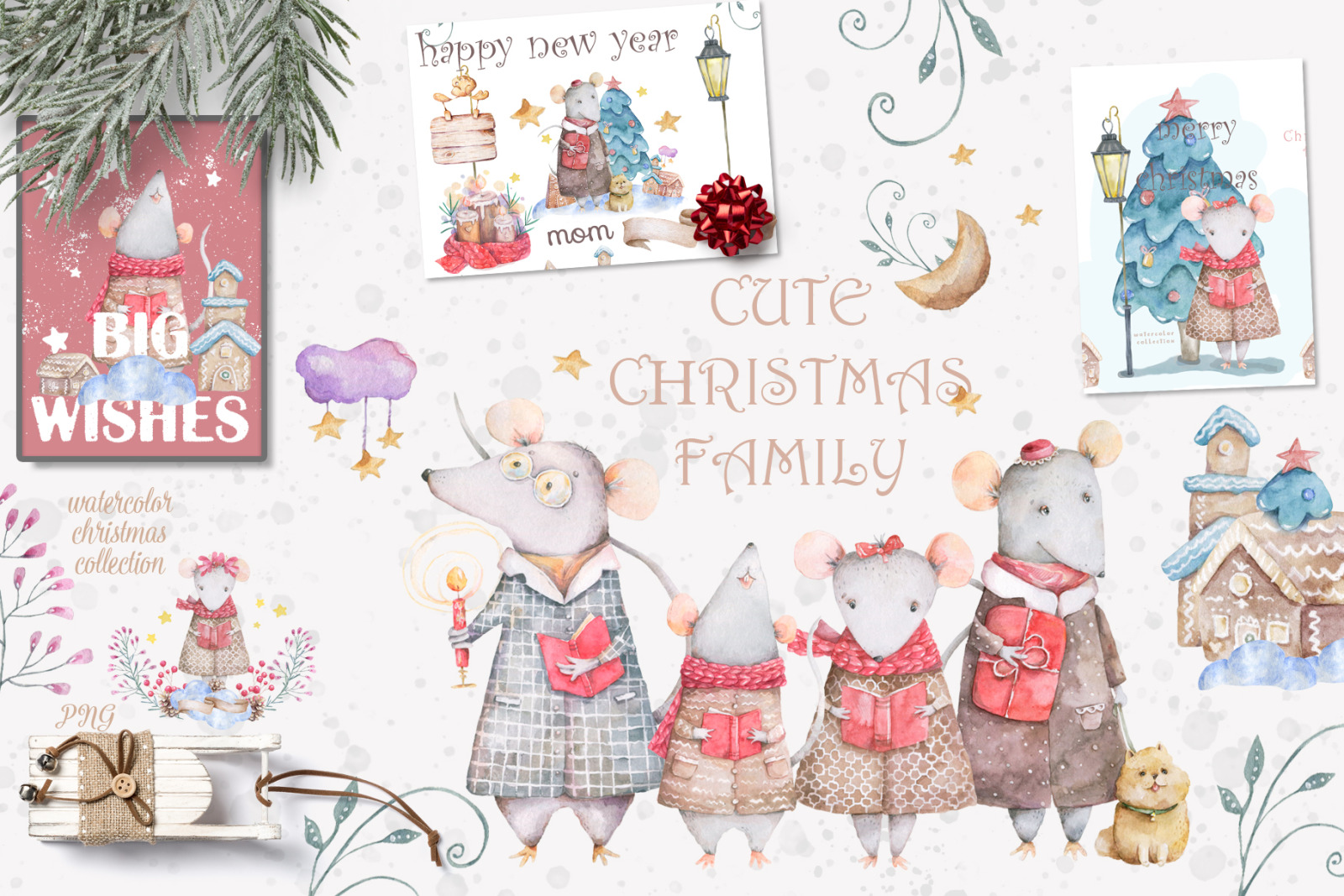 Christmas Story Watercolor cute Rats