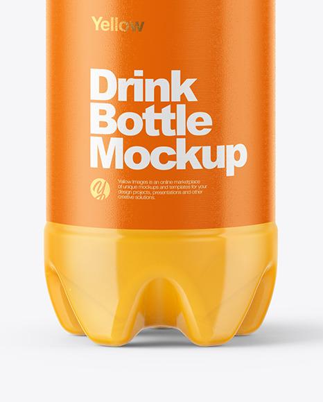 500ml PET Bottle With Orange Drink Mockup