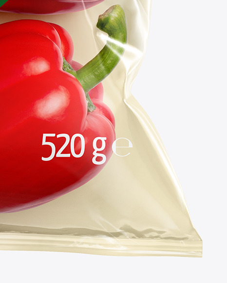 Plastic Bag With Red Sweet Peppers Mockup