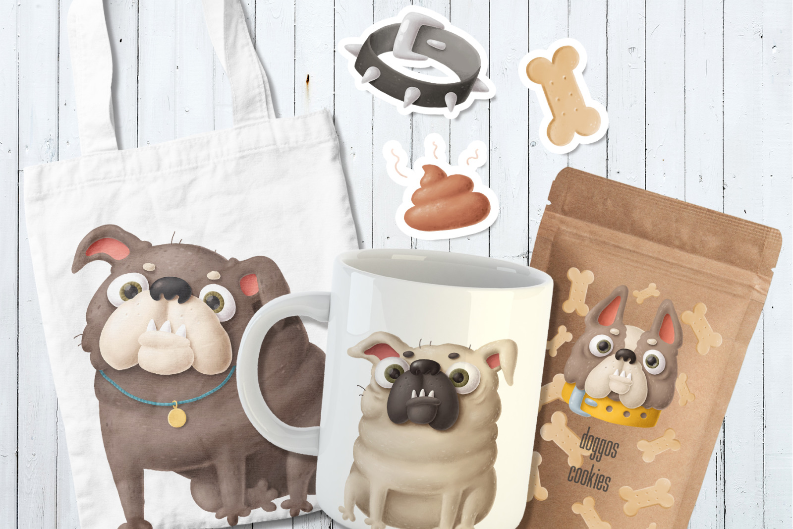 Funny digital dogs characters bundle