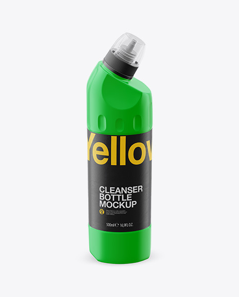 500ml Matte Plastic Toilet Bowl Cleaner Bottle Mockup - Front View  (High Angle Shot)