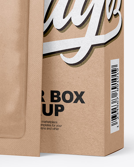 Kraft Paper Box with Kraft Sachet Mockup
