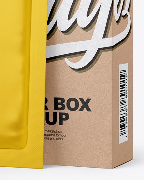 Kraft Paper Box with Matte Sachet Mockup