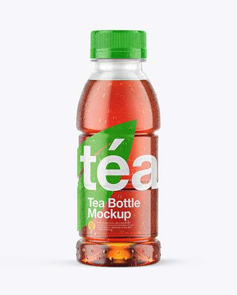 Tea Bottle with Condensation in Shrink Sleeve Mockup