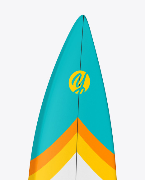 Surfboard Shortboard with Colored Border Mockup - Half Side View