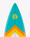 Surfboard Shortboard with Colored Border Mockup - Front View