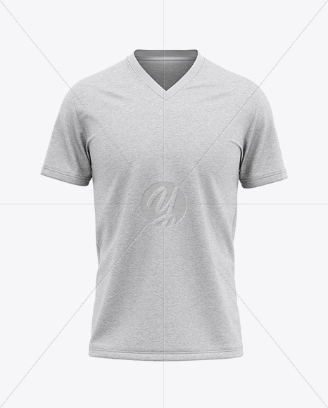 Download Men S Heather V Neck T Shirt Mockup Front View In Apparel Mockups On Yellow Images Object Mockups PSD Mockup Templates