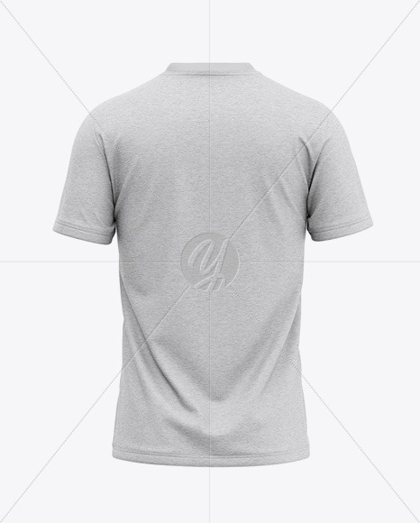 Men's Heather V-Neck T-Shirt Mockup - Back View