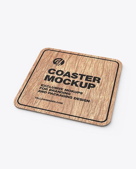 Download Wood Beverage Coaster PSD Mockup
